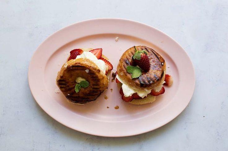 Grilled doughnut strawberry shortcake recipe by Sarah Coates on Food52