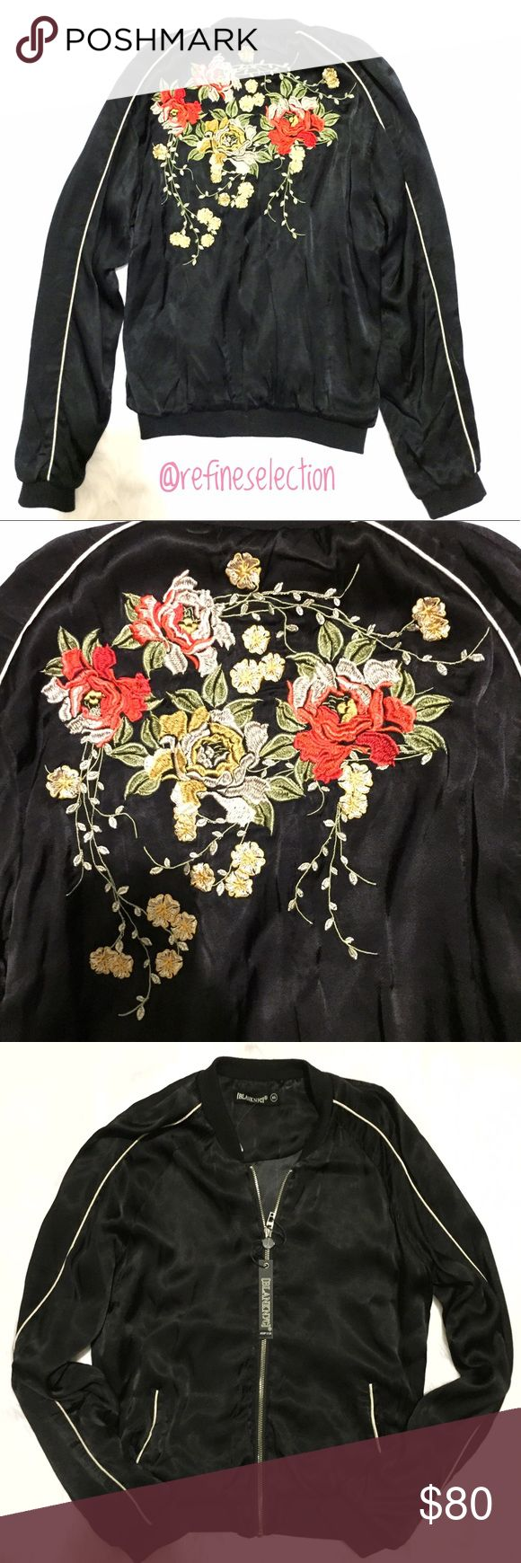 BlankNYC Rose Embroidered Black Bomber Jacket Brand new with tags, available in women's size XS and Small. Retails for $128! This Blank NYC Rose Embroidered Black Bomber Jacket is stunning. Love the highly detailed red and gold roses embroidered on the back. This jacket feels silky smooth, like satin. The white piping along both sleeves and edges of the two front pockets adds the perfect vintage feel. Lined. Shell is 52% Rayon, 48% Viscose. Lining is 100% Polyester. Blank NYC Jackets & Coats