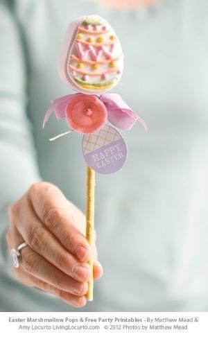 Easy Easter Marshmallow Pops & Free Printables. LivingLocurto.com by valerie