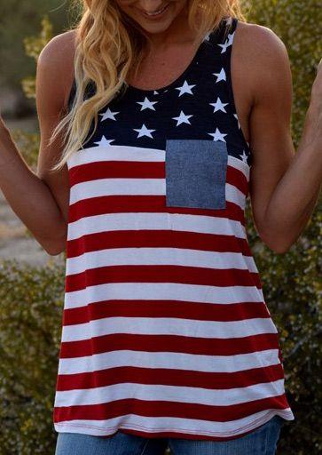 American Flag Pocket Striped Tank - Fairyseason