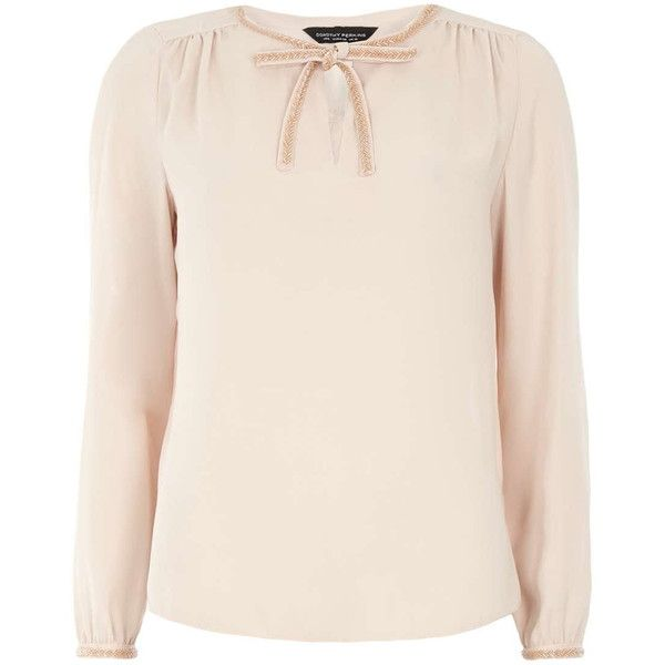 Dorothy Perkins Blush Beaded Pussybow Blouse ($20) ❤ liked on Polyvore featuring tops, blouses, pink, dorothy perkins tops, pink blouse, pink tops, beaded blouse and bow collar blouse