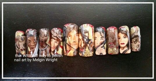 The Walking Dead inspired hand painted nail art by Me! The Walking Dead nails.  #twd #thewalkingdead #walkers #thewalkingdeadfanart @amcthewalkingdead @fearthewalkingdead