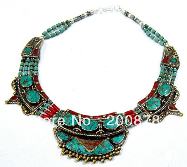 TNL524  Master Design Nepal Indian brass inlaid turquoise coral pendant necklace,2013 Ethnic BOHO Free ship