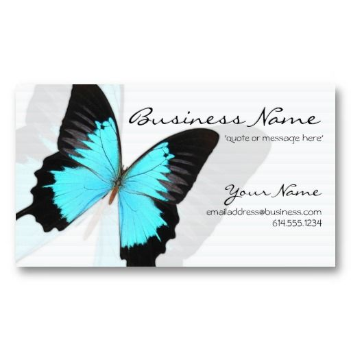Blue Morpho Butterfly Design Business Card Template By