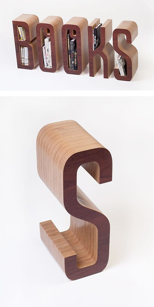 """Fantastic wood type project created by Melbourne-based designer Matt Innes in collaboration with Saori Kajiwara. """"A personal typographic bookshelf sized to fit just those books you go back to time & again."""""""
