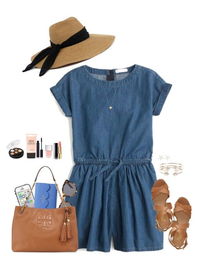 """For a Denim Romper/Dress Contest"" by sc-prep-girl ❤ liked on Polyvore featuring J.Crew, Franco Sarto, Eugenia Kim, LifeProof, Kate Spade, Illesteva, Tory Burch, Chanel, Nails Inc. and shu uemura"