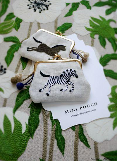 zebra and horse embroidery mini pouch by yumiko higuchi