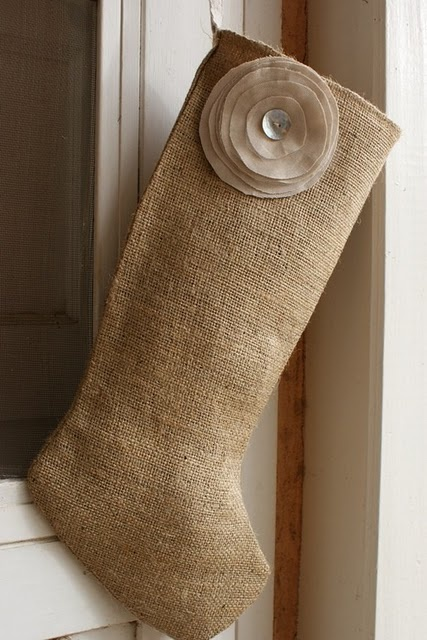 Burlap and linen stocking