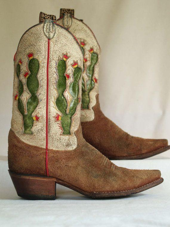 Suede vintage cowboy boots with cactus inlay