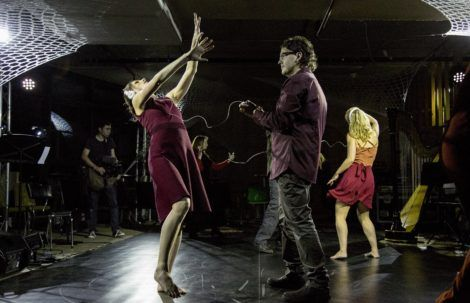 Dancers and musicians in the final moments of Strings Attached, Australian Dance Party, 2016. Photo: © Lorna Sim