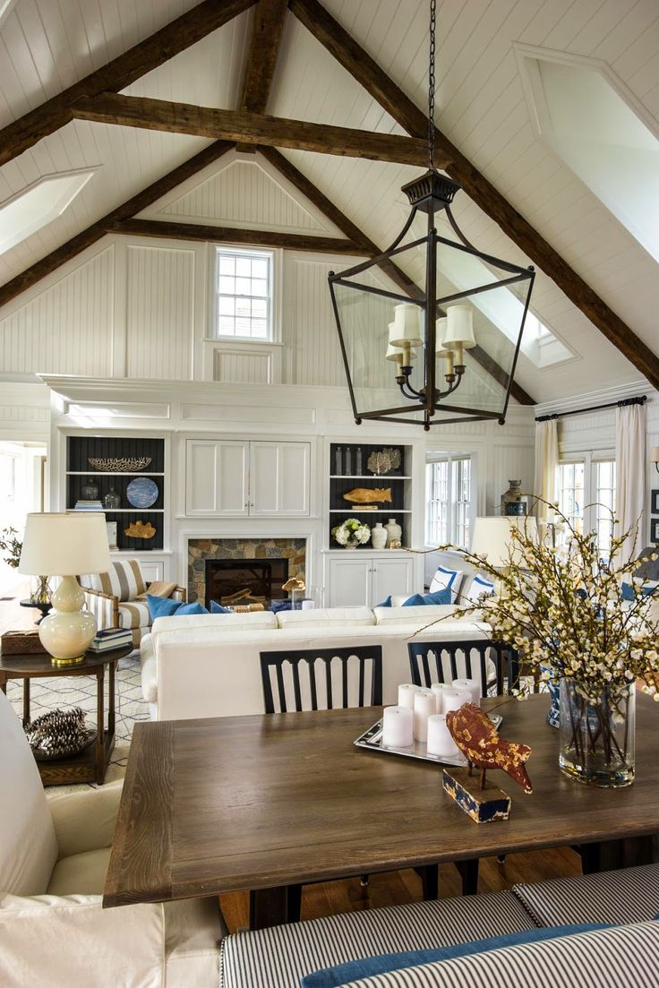 white panelling with rustic wood beam detail, white, wood, great room, via 12th and White: HGTV Dream Home 2015