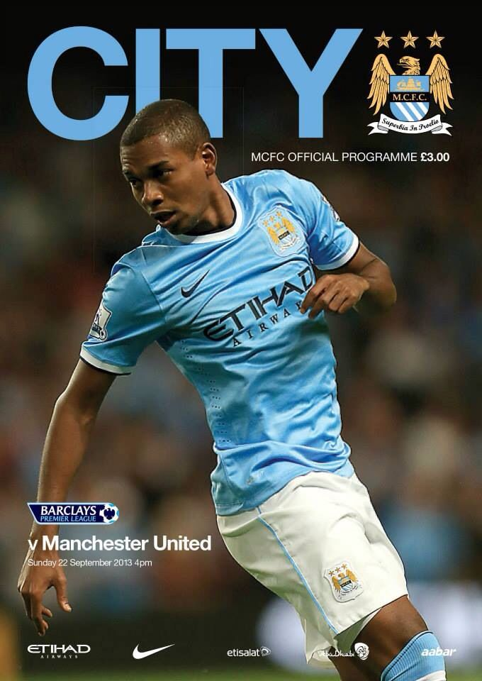 Manchester City v Man United matchday programme front cover 22/9/13 #mcfc