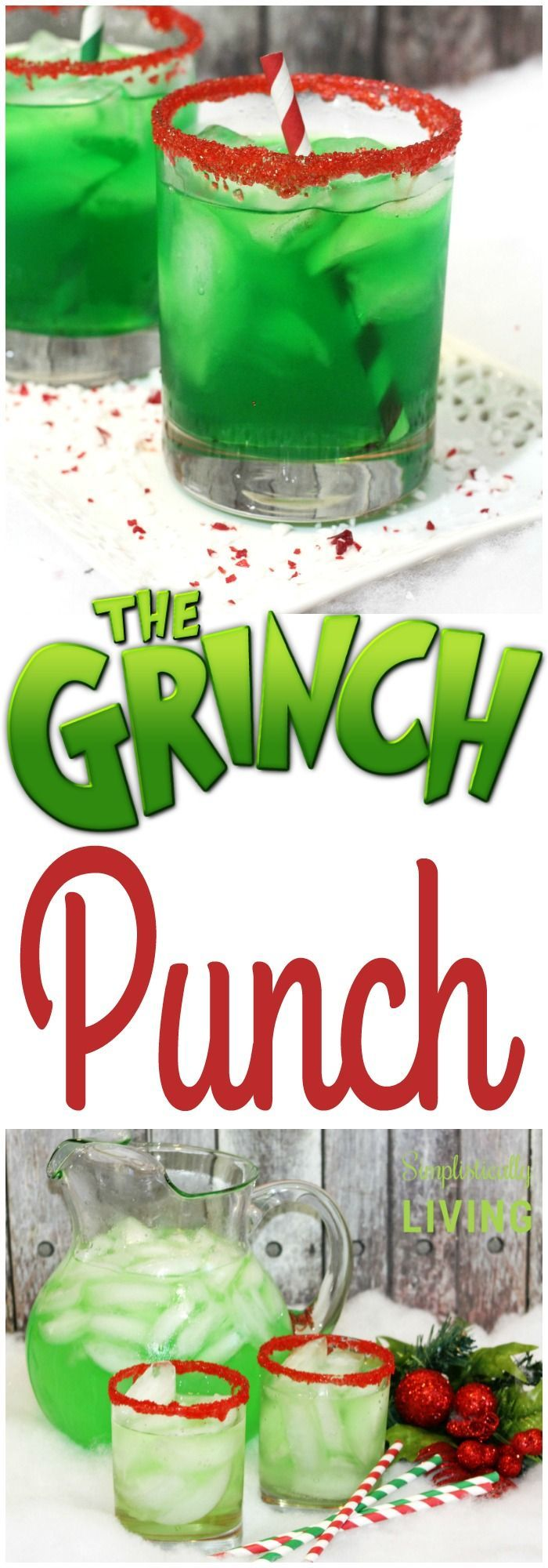 Grinch Punch add 100 proof Vodka for an adult holiday beverage.
