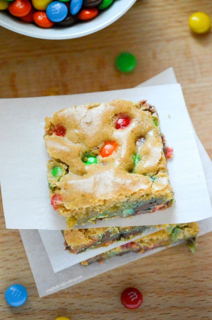 Brown Sugar Blondies with Mini M&Ms from What The Fork Food Blog