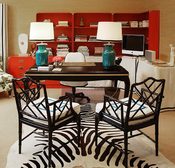 Red, Black And Turquoise Office + A Wonderful Zebra Rug.
