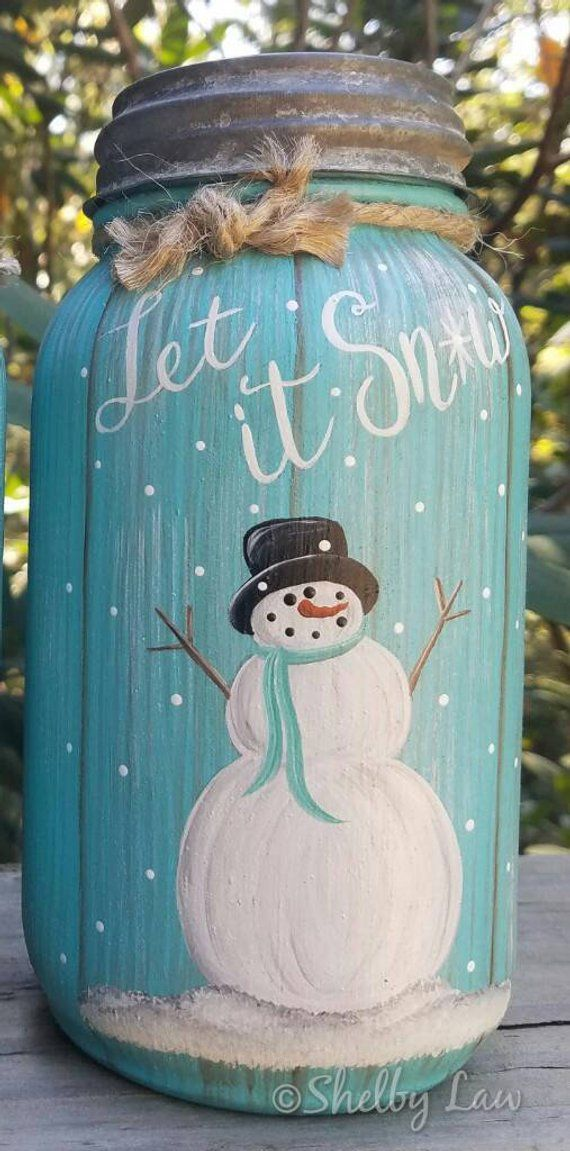 Hand Painted Fall Winter Mason Jar Thankful Let It Snow Cocina