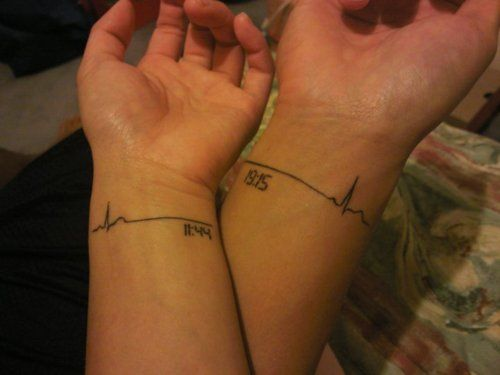 Definitely one of the coolest tattoos I've seen. This couple who are nursing students together got the time of their birth with a ECG tattoo...pretty cool!!