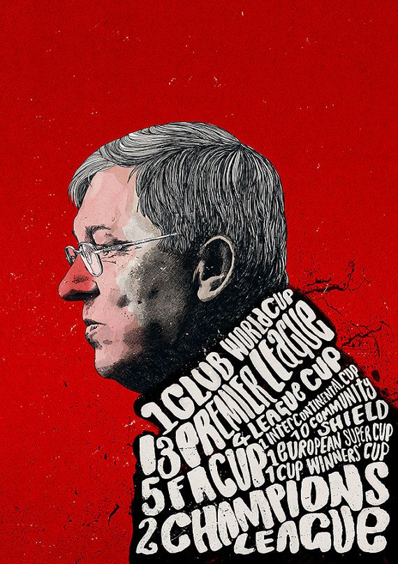 Sir Alex Ferguson 38 Trophies Print - peterstrainshop