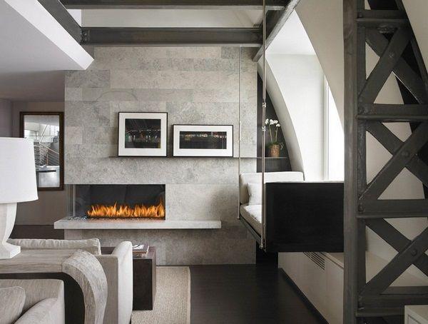 Salle de la cheminée mise sol en granit dalle de plafond en bois style moderne de granit du pays rebord de la fenêtre