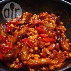 Recipe photo: Easy sausage and bean casserole - omit baked beans and use 1 can tinned tomatoes and a can of beans