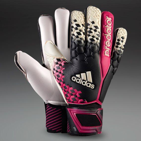 adidas Goalkeeper Gloves - adidas Predator Pro - Goalie Gloves - Goalkeeping - Black-White-Vivid Berry size 7 US