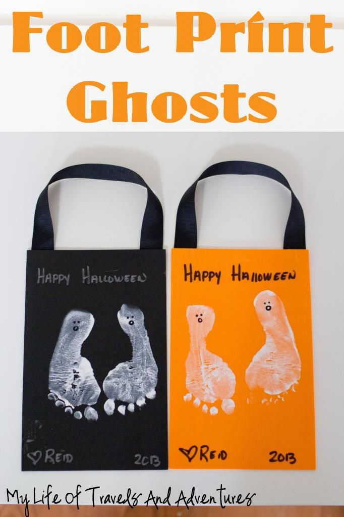 Foot Print Ghosts    | #Halloween #Gifts  #Crafts #Ghosts #Footprints #Kids #Kidscraft