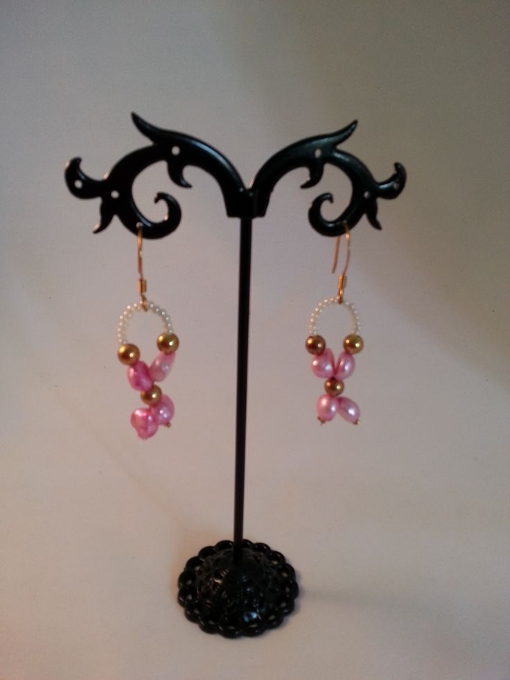 Pink, gold with white seed bead earrings