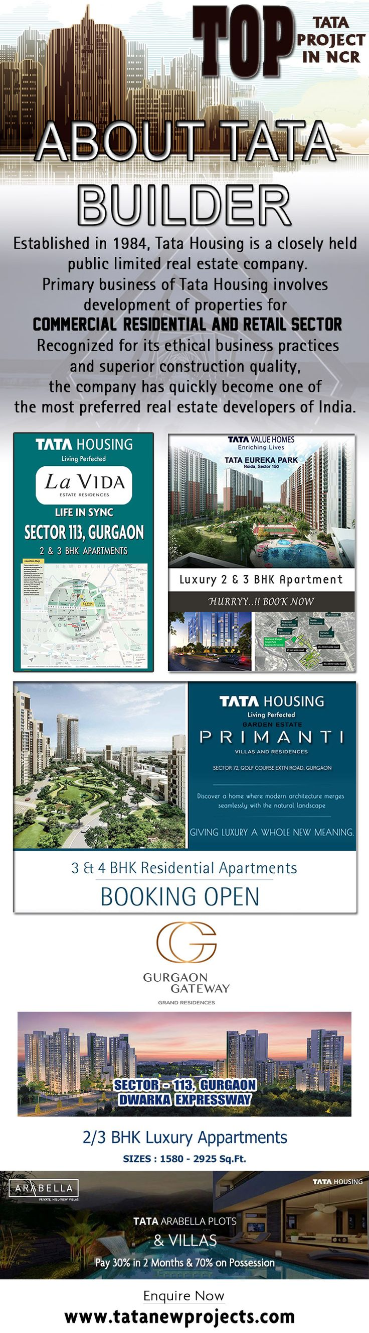 Tata Housing the well known builder of India has entered NCR which is the most promising part of India. NCR gives you the most amazing blend of residential, commercial and retail sector. To know more, http://www.tatanewprojects.com/