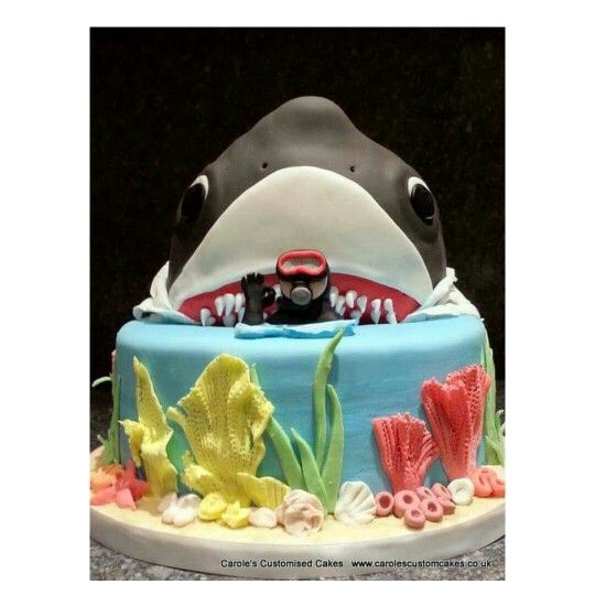 BEHIND YOU! A scuba diver's cake. This shark  cake shows why I won't scuba dive.