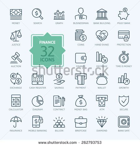 Thin line web icon set - money, finance, payments  - stock vector