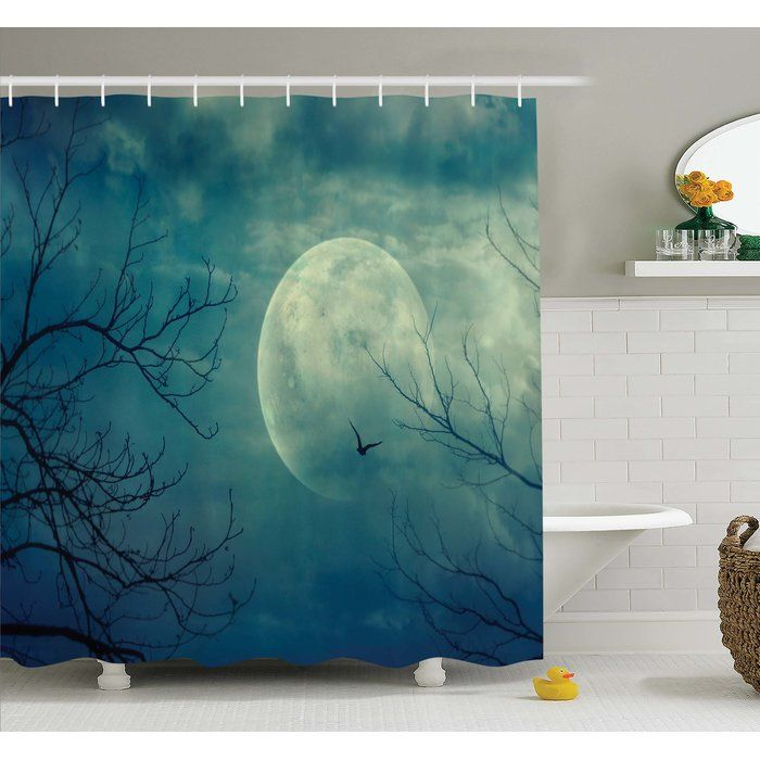 Horror House Halloween with Full Moon in Sky and Dead Tree Branches - haunted forest ideas for halloween