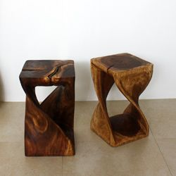 12 Inches Square X 20 Inch Wooden Hand Carved Walnut Oil Twist Stool (