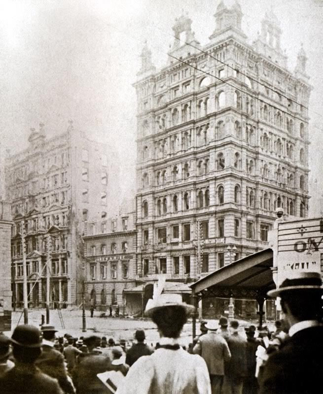 The crowd in Melbourne 1897, watching The Finks Building (the tallest skyscraper…