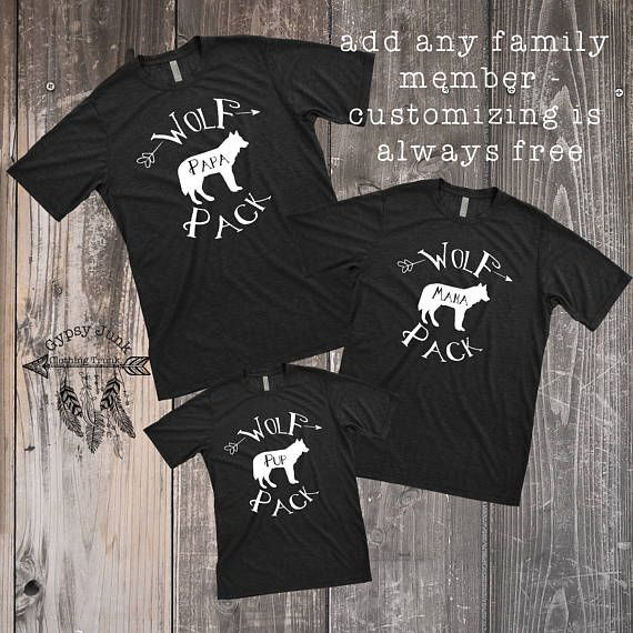 Wolf Pack Shirts Matching Outfits Family Outfits Wolf Pack Sibling Shirts Mommy and Me Daddy and Me Mama Wolf Papa Wolf Baby Wolf by GypsyJunkClothing