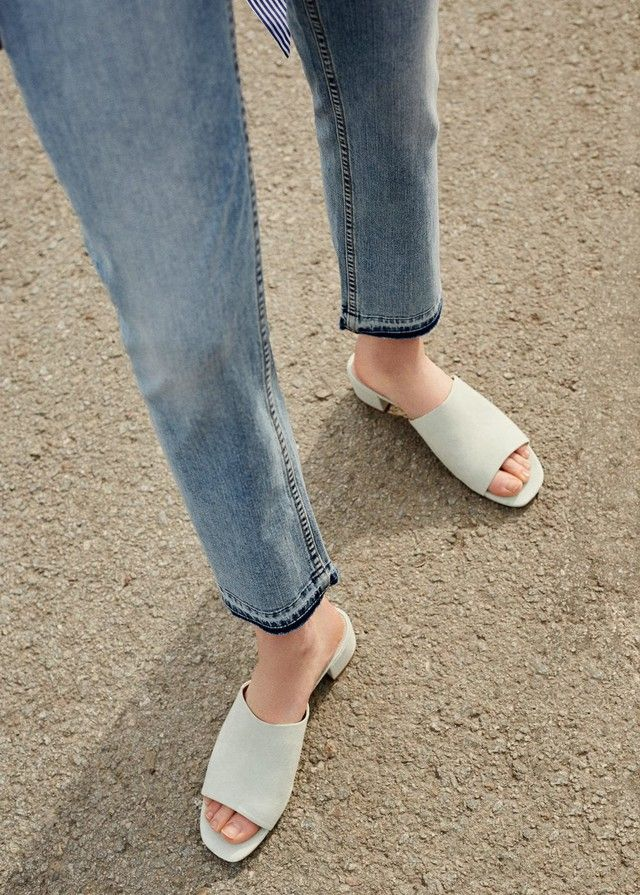 These Are The 7 Sandal Trends You're About To See Everywhere This Summer - $60 Mango Heel Mules In Light Beige Grey Simple Minimalist Summer Spring Shoe Trends