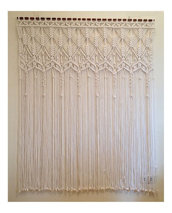 Wedding Macrame Curtain, Large macrame, Macrame fiber art,white macrame curtain.