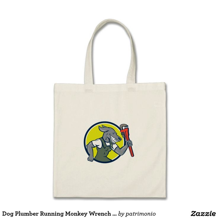 Dog Plumber Running Monkey Wrench Circle Cartoon Tote Bag. Tote bag with an illustration of a dog plumber running holding monkey wrench viewed from the side set inside a circle done in cartoon style. #totebag #plumber #monkeywrench