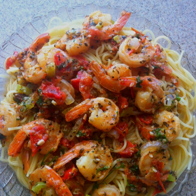 Shrimp w/Herbs and Tomatoes in a Lemon Garlic sauce over Angel Hair Pasta