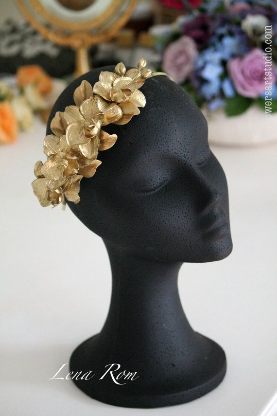 Orchids headpiece. Gold headpiece. Wedding headpiece. Bridal