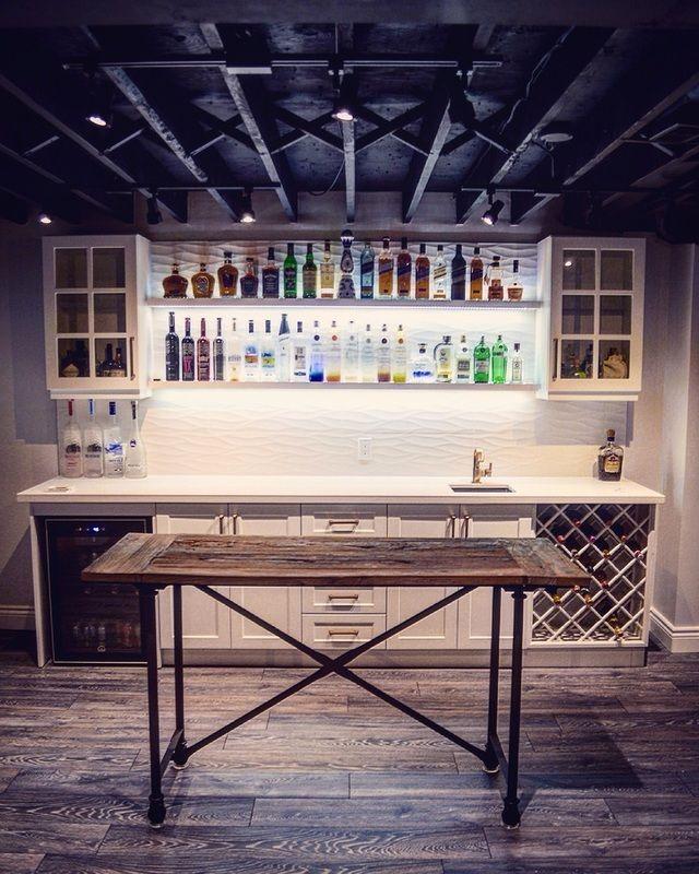 custom home bar in basement under shelf led lighting ikea cabinets rh pinterest com