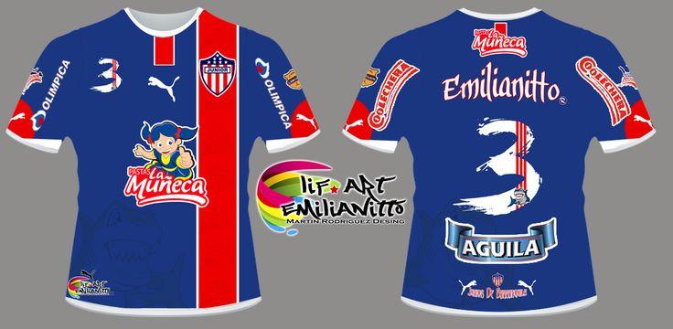 Camiseta Junior De Barranquilla D1 Diseño exclusivo de @LifArtEmilianitto