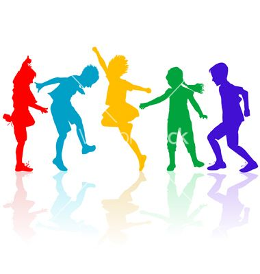 Colored silhouettes of happy children playing vector 990987 - by hibrida13 on VectorStock®