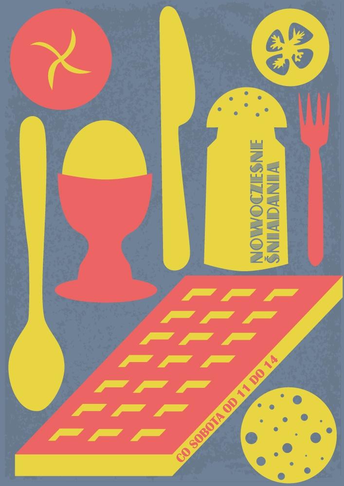 plakat śniadaniowy dla kawiarni Nowoczesnej w Warszawie