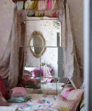 Romantic vintage mirror and float curtains.