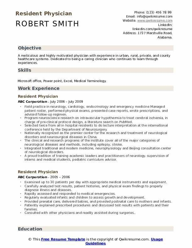 Resident Physician Resume Samples Qwikresume Cv Template Good Cv Cv Template Word