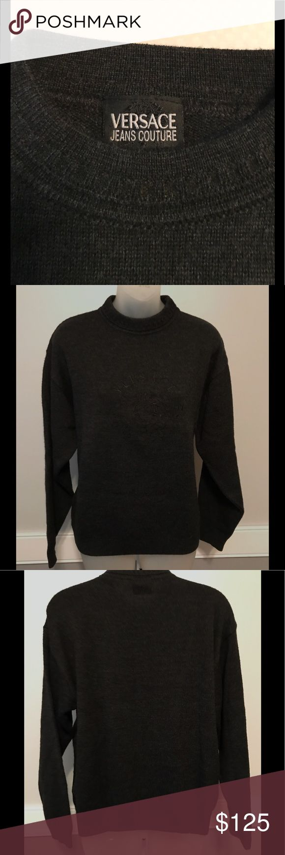 """Vintage Versace sweater - understated elegance. A vintage Versace pullover sweater in excellent condition.  Versace logo on front  is in perfect condition. No size tag, however measures 21"""" across at underarms and is 24"""" long from neck to hem. Wool/acrylic blend. All reasonable offers welcome. Sweaters Crew & Scoop Necks"""