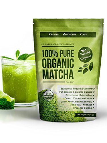 Organic Matcha Green Tea Powder Extract - 100% USDA Organic - Fat Burner & Weight Loss Supplement - Energy & Mental Focus Booster - Lattes, Smoothies and Baking - Over 1300 Antioxidants - Improved Hair & Skin Health - Great for Diet - Amino Acid L-Theanine - Fights Cancer with EGCg - http://goodvibeorganics.com/organic-matcha-green-tea-powder-extract-100-usda-organic-fat-burner-weight-loss-supplement-energy-mental-focus-booster-lattes-smoothies-and-baking-over-130