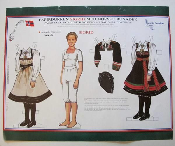 Paper Doll SIGRID (no. ?) with Norwegian National Costumes from Setesdal.