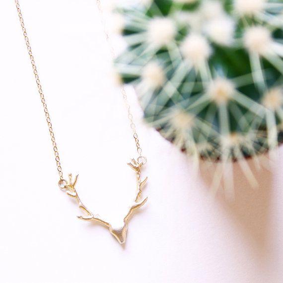 Deer antler necklace / Deer necklace/ Antler by Maddiecatandme