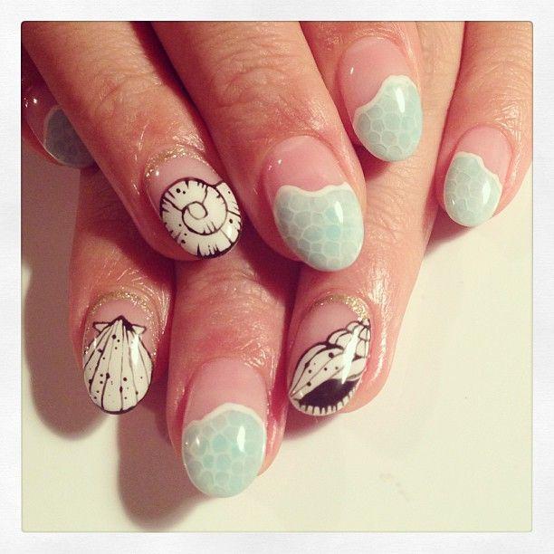 Shellfish art nails #avarice #art #design #kayo #nails #nailart #summer #shellfish (NailSalon AVARICE)